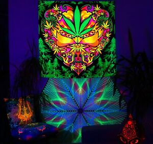 Cannabis UV Fluorescent Glow Psytrip Psyart Backdrop Tapestry Trippy Visionary