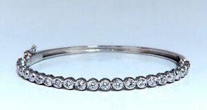 1.63ct Rotondo Naturale Diamanti Lunetta Incasso Set Bracciale Rigido 14 Carati