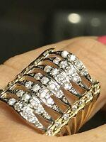 Gold Multi ring semanario stack Wide 10k simulated Diamond 7.5 6 7 8 9 9.5 6.9g