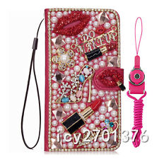 PU Leather Flip Bling Diamond Wallet Case Girls' Phone Cover bag with strap #2