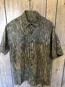 Vintage Realtree Brown Leaf SS Shooter Shirt Made In USA