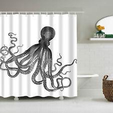 "71"" Ocean Sea Animal Octopus Polyester Bathroom Shower Curtain Decor With Hooks"