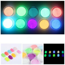 1Set 10 Neon Color Fluorescent Acrylic Use Powder Nail Art Manicure Paint Tools