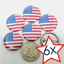 "LOT OF 6 - AMERICAN FLAG 1"" PIN BUTTONS - LAPEL PINS - PATRIOTIC BUTTONS"