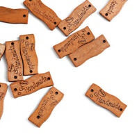 Retro 50Pcs Wooden Buttons Handmade Tags Wooden Sign 2 Holes DIY