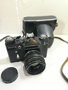 Zenit E Moscow Olympics SLR Film Camera With Helios 44-2 2/58 Lens Vintage