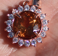Imperial Topaz 3.65ct,Rose Gold Plated,Solid Sterling Silver Pendant,Natural,