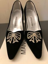 Manolo Blahnik Terlan Black Velvet Pump With Rhinestone Bow - 36