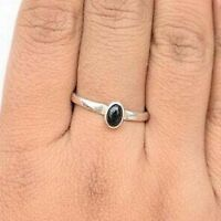 925 Sterling Silver Oval Shape Black Onyx Handmade Ring All Size KGJ-R-1006