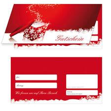 200 x Premium Winter Geschenkgutscheine (rot) Klappkarten Gutscheine Weihnachten