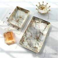 European Marble Ceramic Jewelry Storage Tray Dinner Gold Inlay Dessert Plate