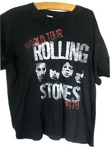 THE ROLLING STONES - WORLD TOUR 1978 STENCIL - OFFICIAL T SHIRT (XL