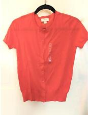 NWT Ann Taylor LOFT Crew Neck Short Sleeve Cotton Cardigan Sweater $40 Orange