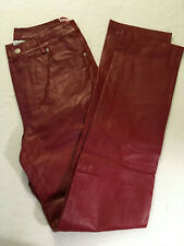 NWT NEWPORT NEWS MAROON RED LEATHER PANTS WOMEN'S SIZE 8T - EB-112