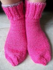 Hand knitted cozy & warm wool blend socks, hot pink