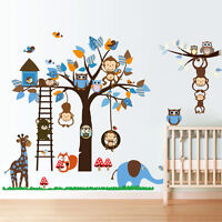 Monkey Elephant Owls Tree Wall Sticker Jungle Animals Art Decal Nursery Room