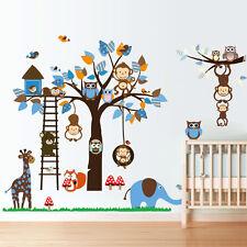 Monkey Owls Tree Wall Sticker Jungle Animal Elephant Giraffe Art Decal Nursery