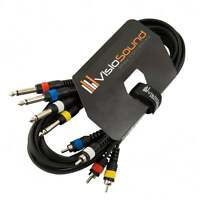 """4-Way 3m 6.35mm 1/4"""" Mono Jack to RCA Phono Loom / Effects Patch / Channel Cable"""