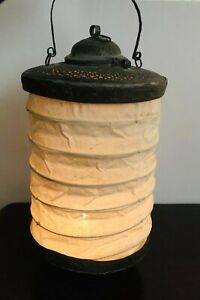Unique Antique Chinese Brass Candle Lantern Lamp Hanging Collapsible Cloth 1800s