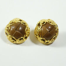& Brown Woven Leather Cuff-Links Large Vintage Woman's Gold Tone