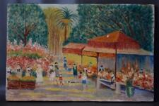 French Impressionnist Oil Painting on Wood Panel of a Provence Market