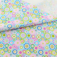 Teramila Cotton Fabric Blue Flower 100cmx160cm Quilting Bedding Sewing Tissue