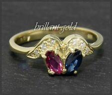 Diamant, Rubin & Saphir 585 Gold Bandring, Ring mit 0,57ct, 14 Karat Gelbgold