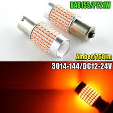 2X BAU15S 1156PY PY21W Turn Indicator LED Bulbs 3014 144SMD AMBER Orange 12-24V