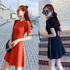 Korean Women Knit Summer Casual Party Slim Bodycon Bandage Crew Neck Short Dress