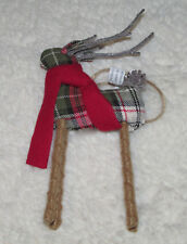 NEW Pottery Barn Fabric Plaid  Reindeer Small Ornament