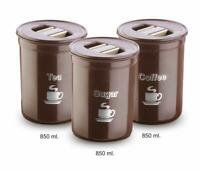 Asian Accurate Airseal Canisters 3 pcs Set For Suger, Tea and Coffee Color Brown