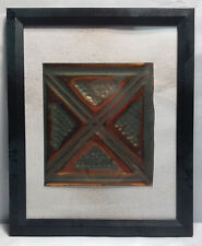 """Tin Ceiling Art Distressed Copper & Green Vintage Look Panel Framed 8""""X10"""" #644"""