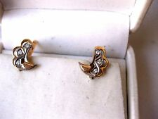 VINTAGE RUSSIAN 583 2-tone ROSE GOLD EARRINGS with DIAMONDS,1960's.