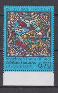 F943 -  FRANCE STAMPS 1993 LE MANS CATHEDRAL STAINED GLASS MNH