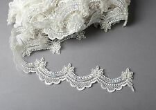 Ivory Beaded w/Sequins 2.5cm Scalloped Bridal Trim Lace By the Yard #105
