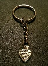Made With Love Heart Key Chain Charm Pendant Gift