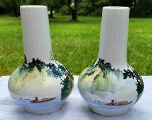 "Lot-2 VTG 5.5"" Oriental Porcelain Bud Vases Hand Painted Man Fishing Mountains"