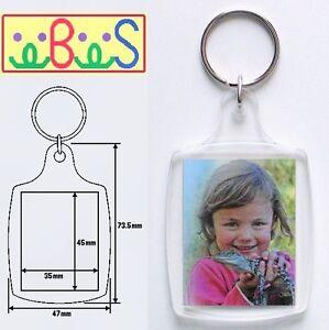 150x Blank Acrylic Keyrings 57x46mm Frame & 45x35mm Photo key ring plastic 95457