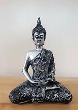 Antique effect Silver sitting Thai Buddha ornamenet 18cm tall NEW