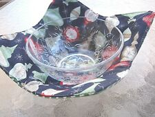 Reversible Microwave Safety Bowl/Pot Holder Retro Holiday Print  Made in USA o3