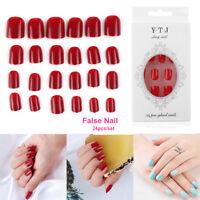24X/Set Artificial Short Full Cover False Beautiful Nails Art Tip DIY-Fashion