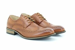 Route21 M803 Men's Classic Gibson Formal London Brogues Lace Up Shoes Tan Burni