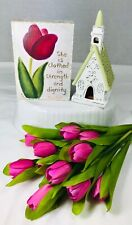 Proverbs 31:25 Wall Art + Shabby Church Candle Holder + Tulips Gift for Mom