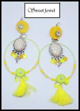 Grandes boucles d oreilles BIJOUX LOL jaune strass nacre perle  Lolilota