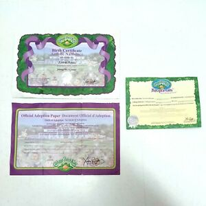 Cabbage Patch Kids Birth Certificate & Adoption Papers + Adoptimals Certificate