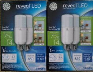 Set of 2 - 2-pack GE Reveal LED Light Stick Bulbs - 14 Watt = 75 Watt NEW