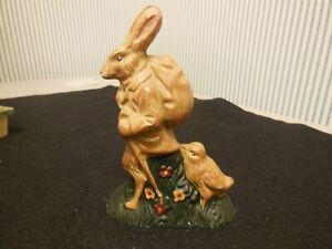 "Easter Bunny Rabbit Mold Basket Figurine Tabletop Decor 4 1/4"""