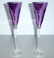 Waterford W Collection Champagne Flute Pair Heather Purple Crystal 40029529 New