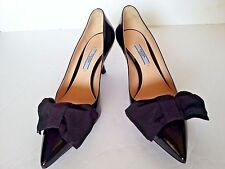 New Prada Patent Leather Pointed Toe  Bow Pump 65mm Kitten Heel Shoes Black 38.5