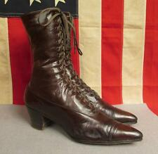 """Vintage 1900's Antique Womens Brown Leather Boots Victorian 10 1/4"""" Length Nice!"""